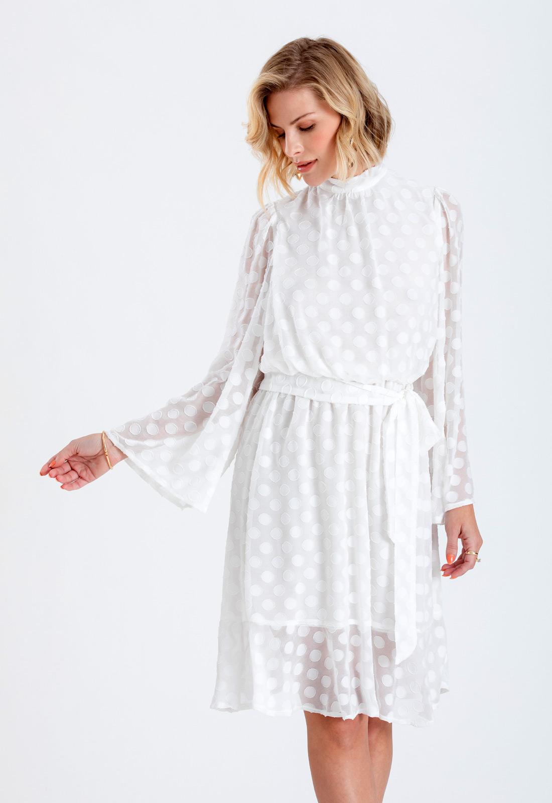Vestido branco com manga longa ref. 2657