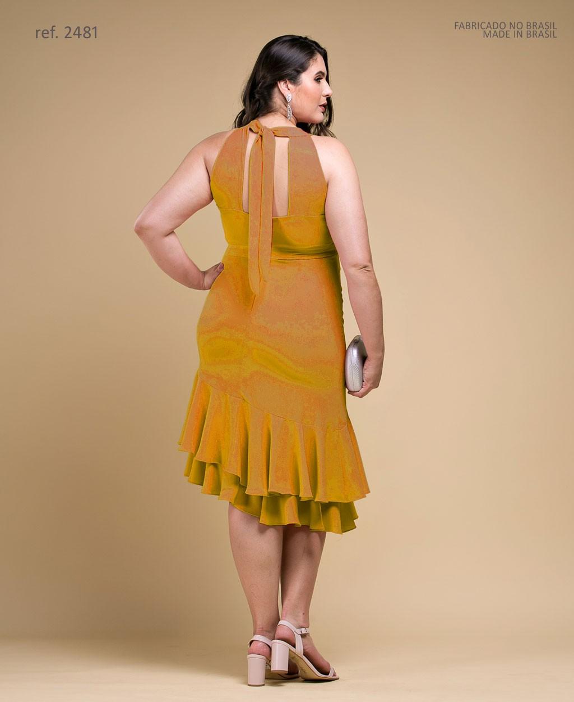 Vestido curto Mostarda Cava Americana com Babados - Ref. 2481