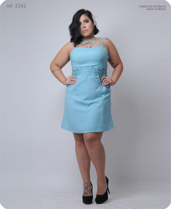 Vestido curto com guippir na cintura e detalhe alça - Ref. 2242