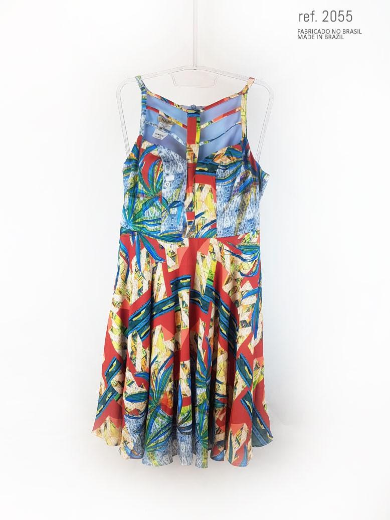vestido estampado curto foto tecnico