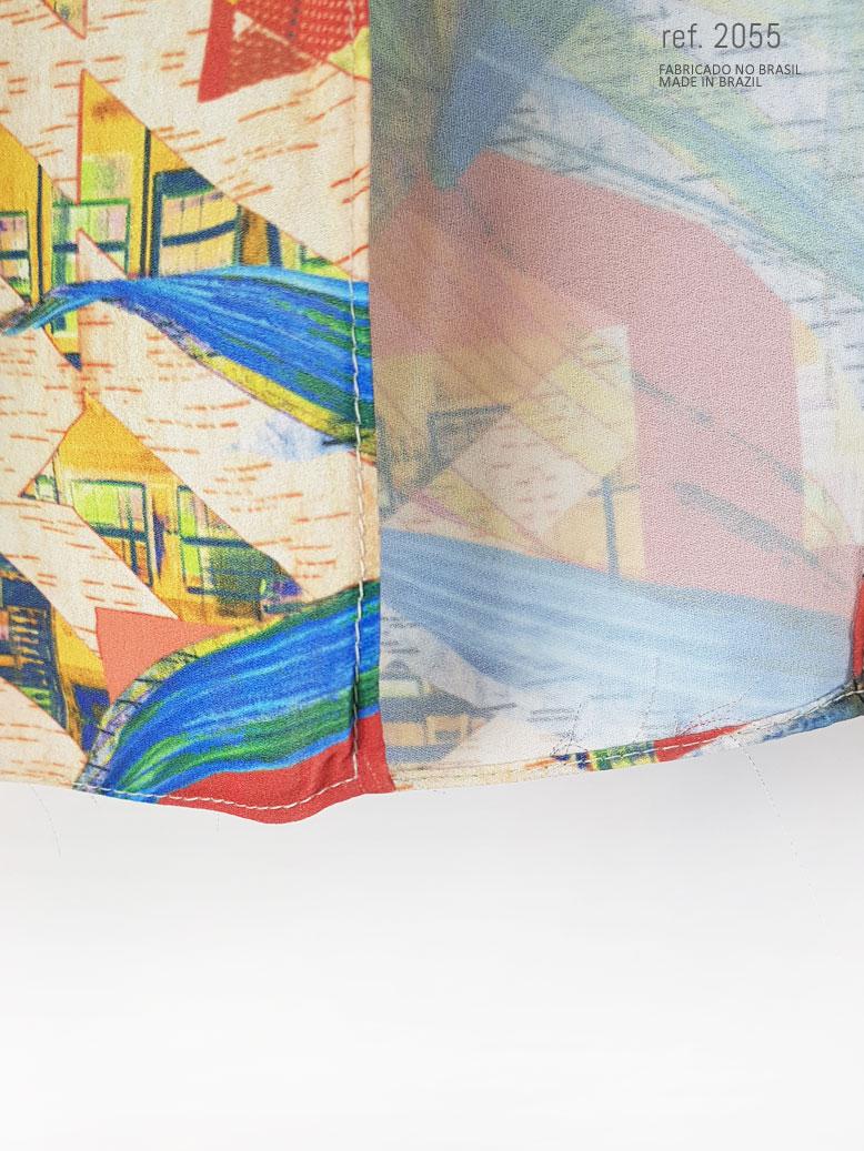 detalhe de tecido estampado do vestido