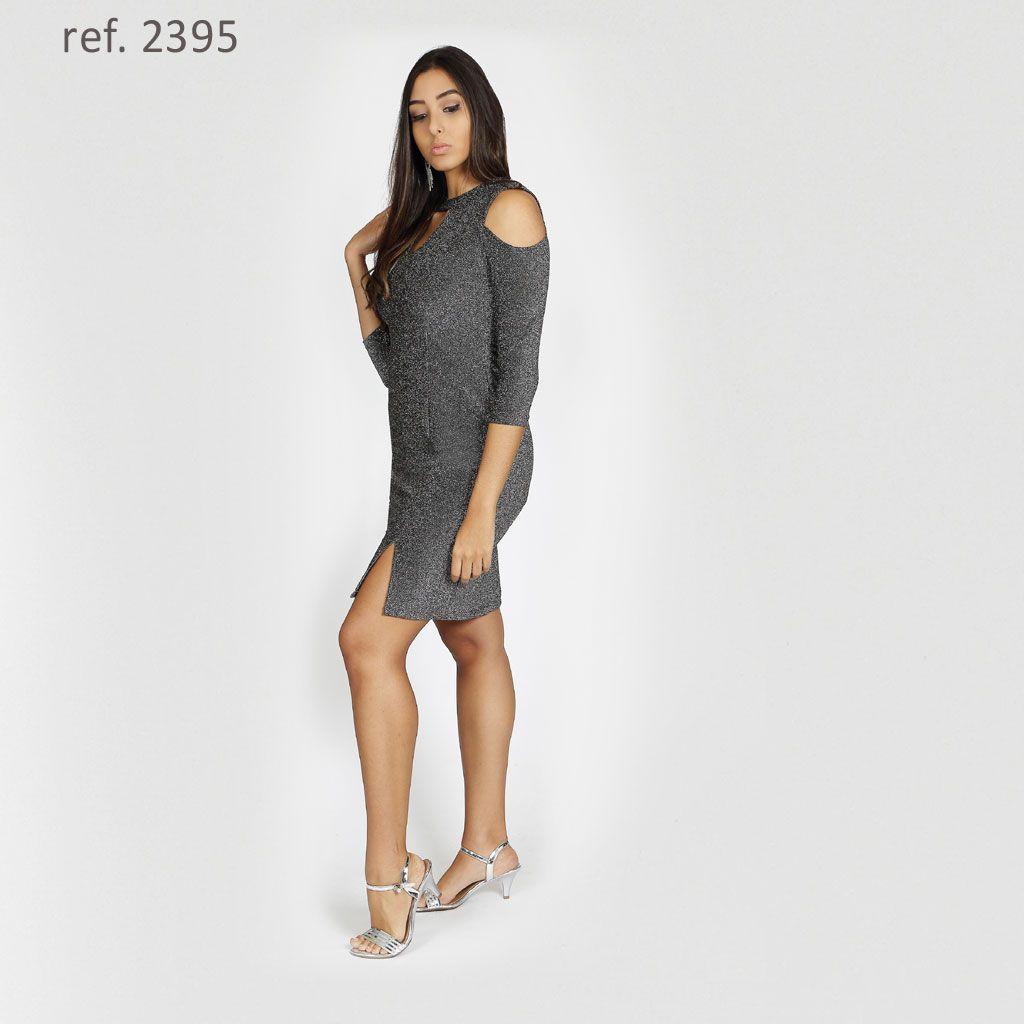 Vestido curto de lurex com manga 3/4 - Ref. 2395