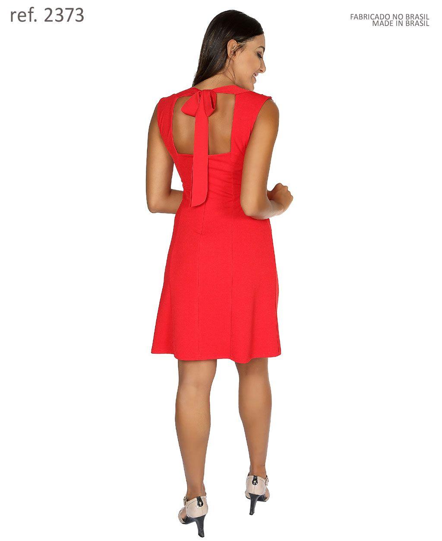 Vestido curto de malha com decote guippir- Ref. 2373