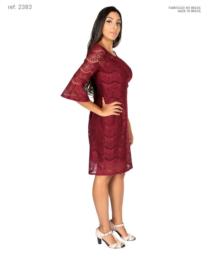 Vestido de festa tubinho curto de renda com manga 3/4 peplum - Ref. 2383
