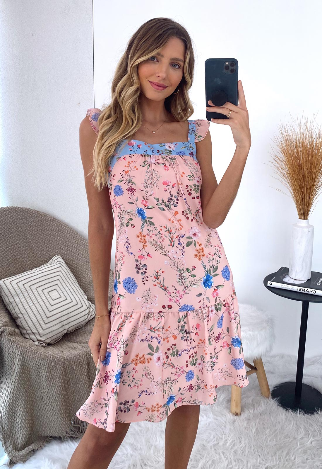 Vestido curto flor salmão ref. F12268