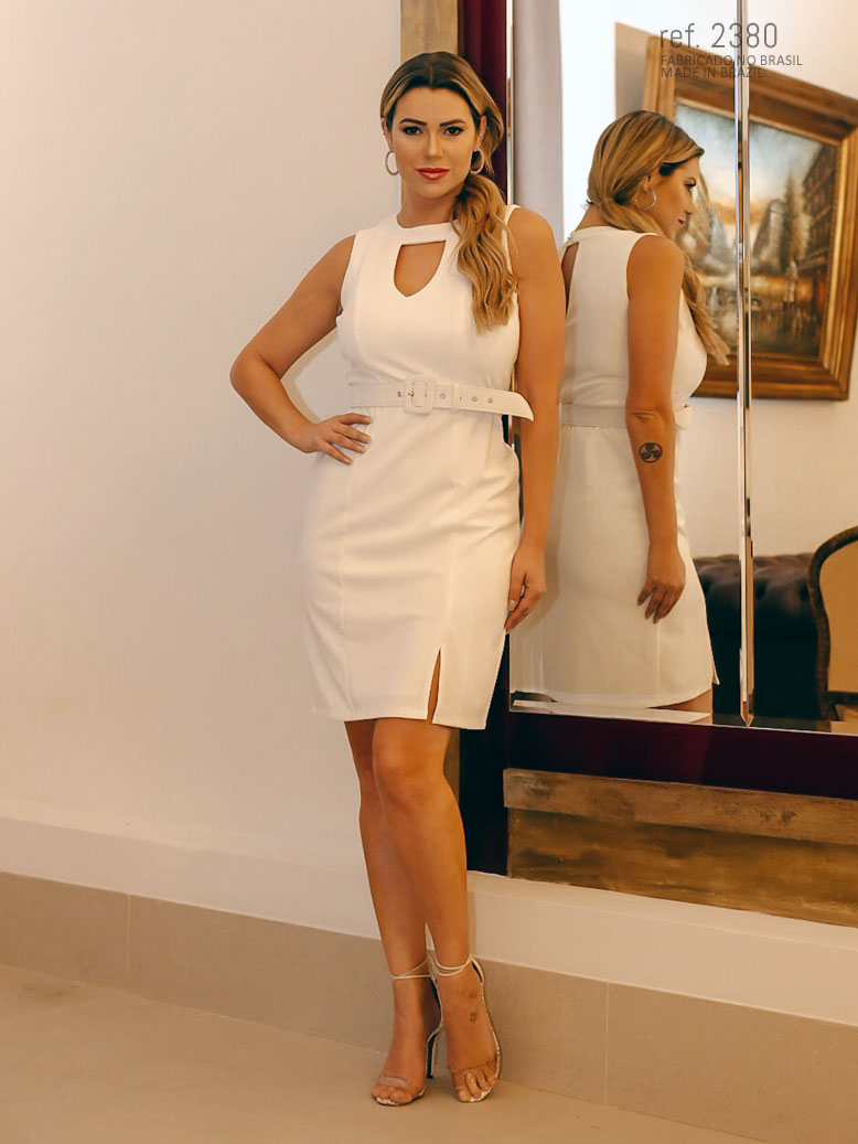 Vestido brano curto para noivas com cinto personalizado - Ref. 2380