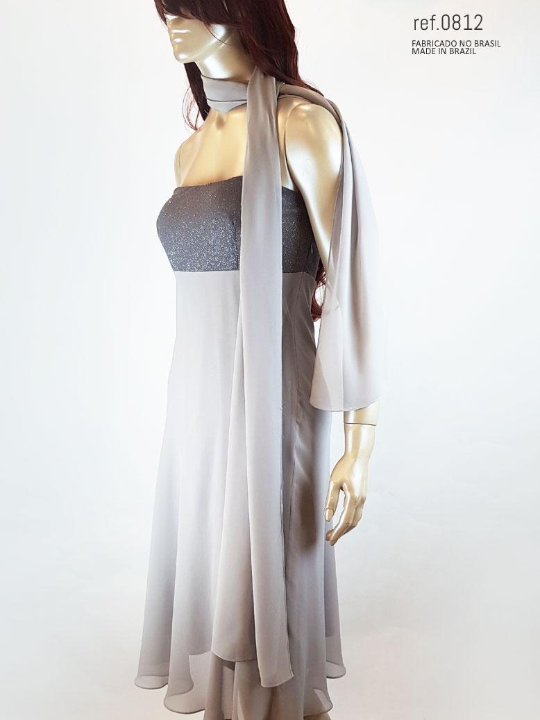 Vestido curto prateado  ref. 0812