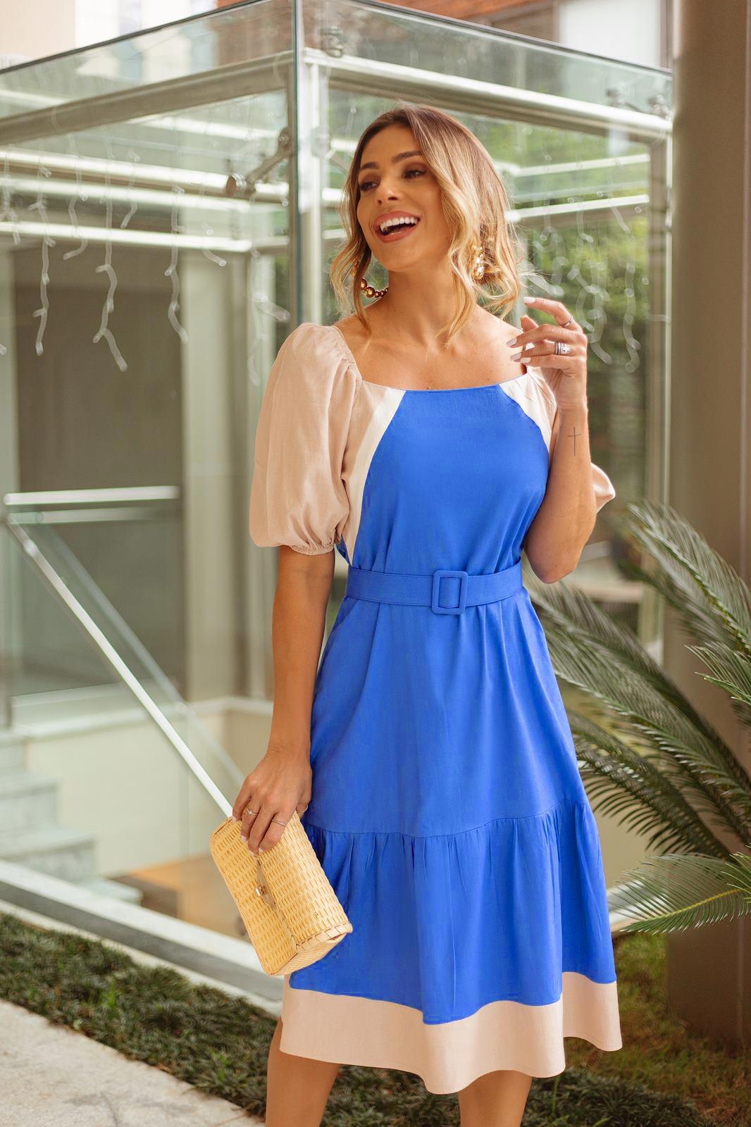 Vestido curto pricesa azul ref.  F12108