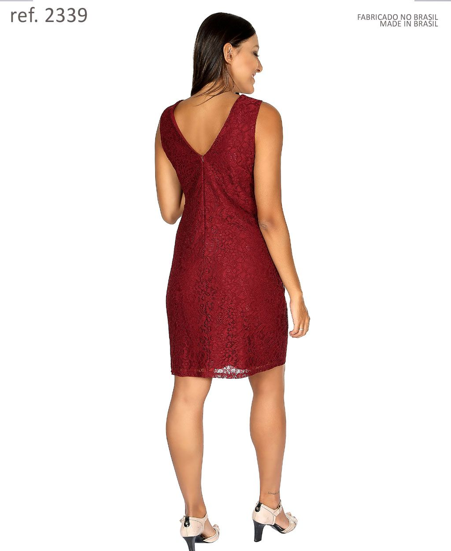 Vestido curto tubinho de renda - Ref. 2339