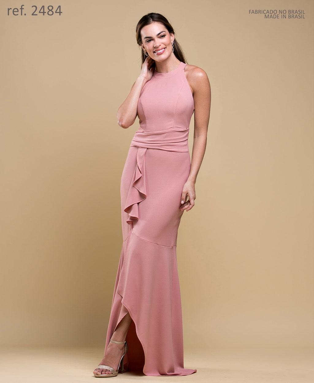 Vestido longo de festa  rosê cava americana - Ref. 2484