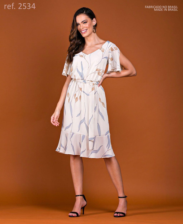 Vestido de festa estampado curto crepe estampado com manga - Ref. 2534