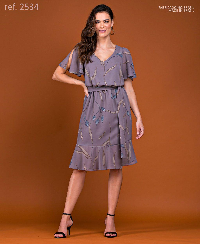 Vestido de festa curto estampado com manga - Ref. 2534 cinza