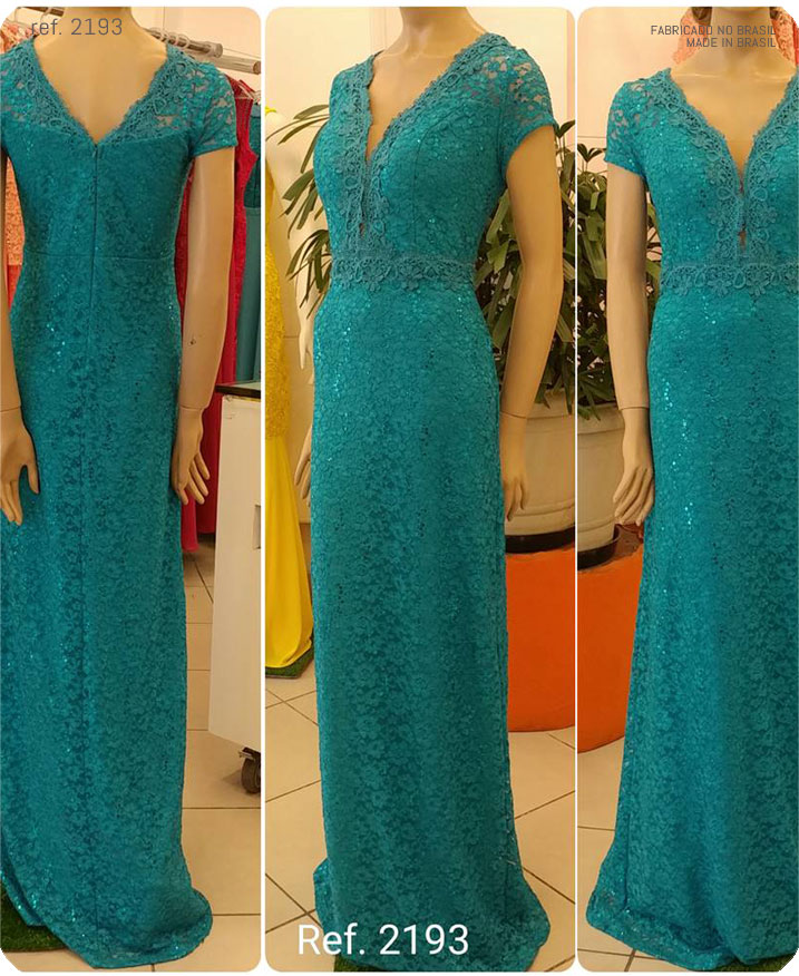 Vestido de festa azul turquesa longo renda plus size ref. 2193