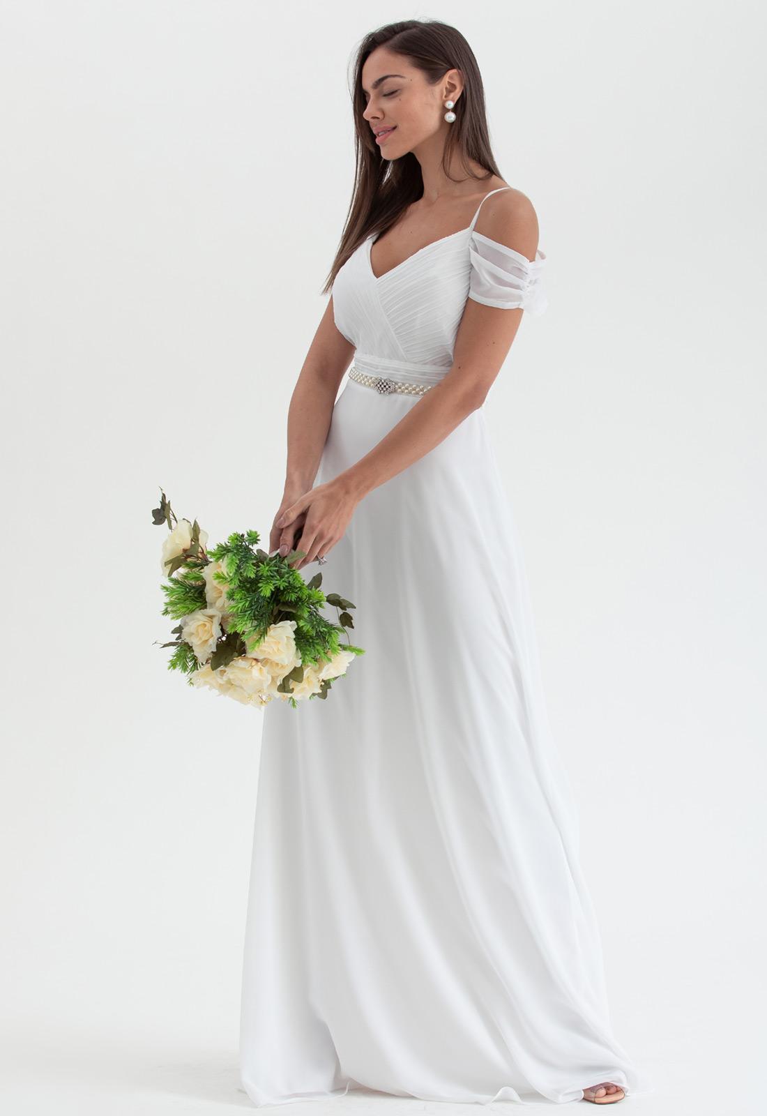Vestido de festa branco ref. 2474