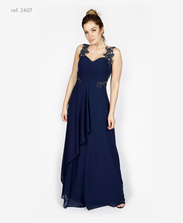 Vestido de festa com  bordado azul marinho- Ref. 2407