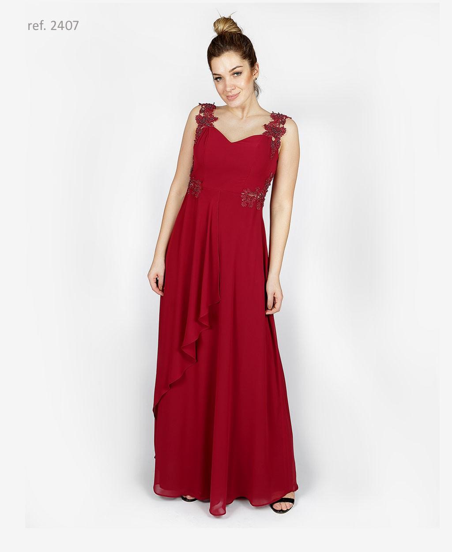 Vestido de festa com  bordado marsala - Ref. 2407