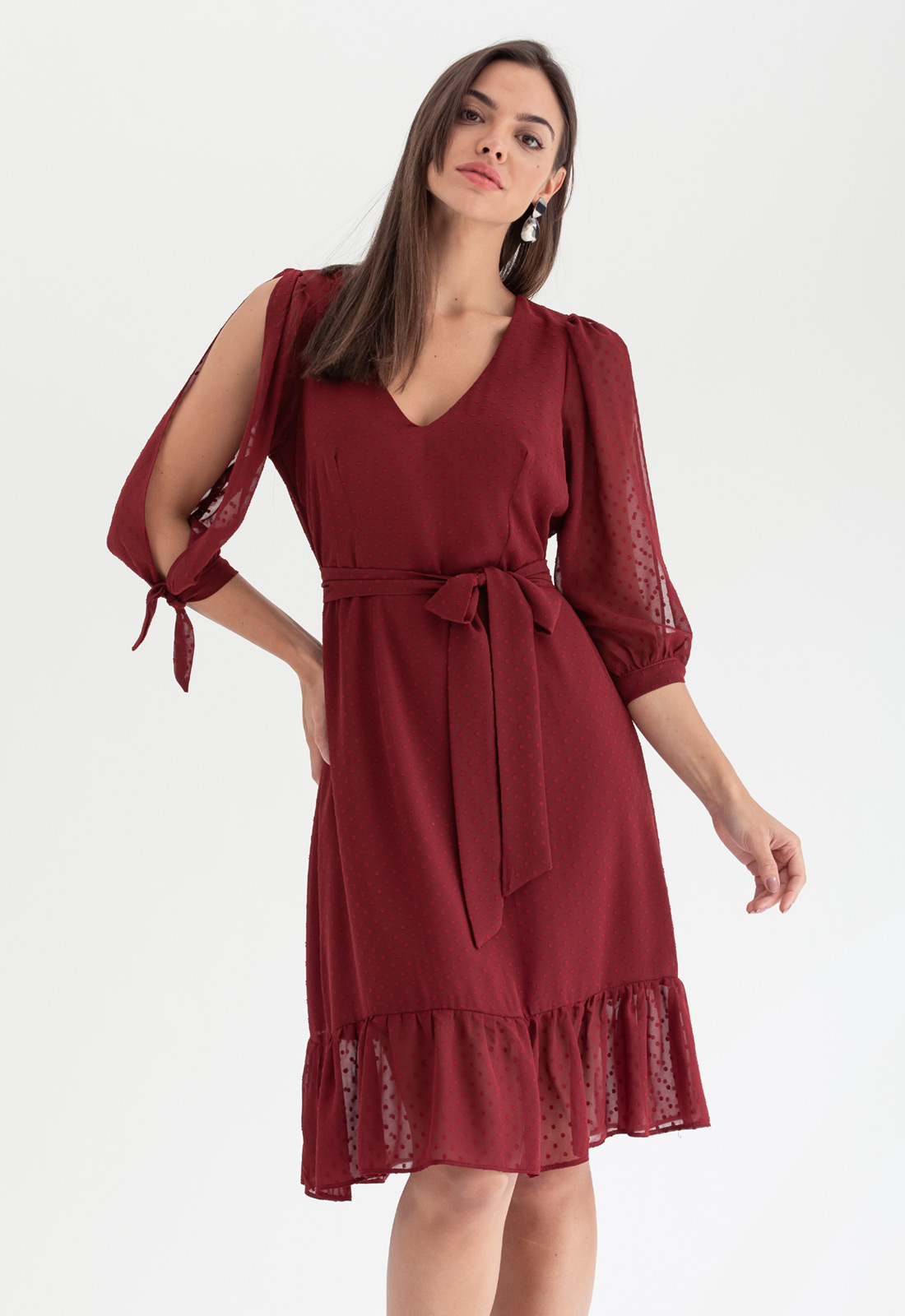 Vestido de festa curto marsala ref. 2584