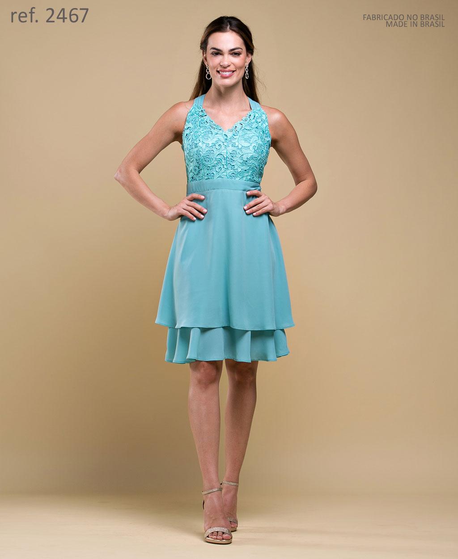 Vestido de festa curto Verde / salmao Ref. 2467