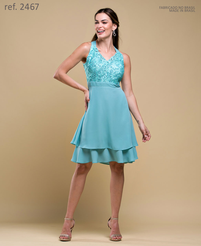 Vestido de festa curto Verde  Ref. 2467