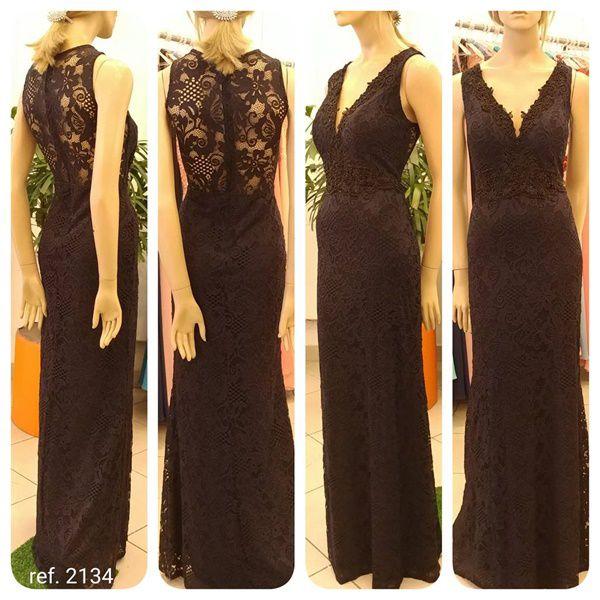 Vestido de festamanga longa de renda com guippir e bordados ref. 2134 s
