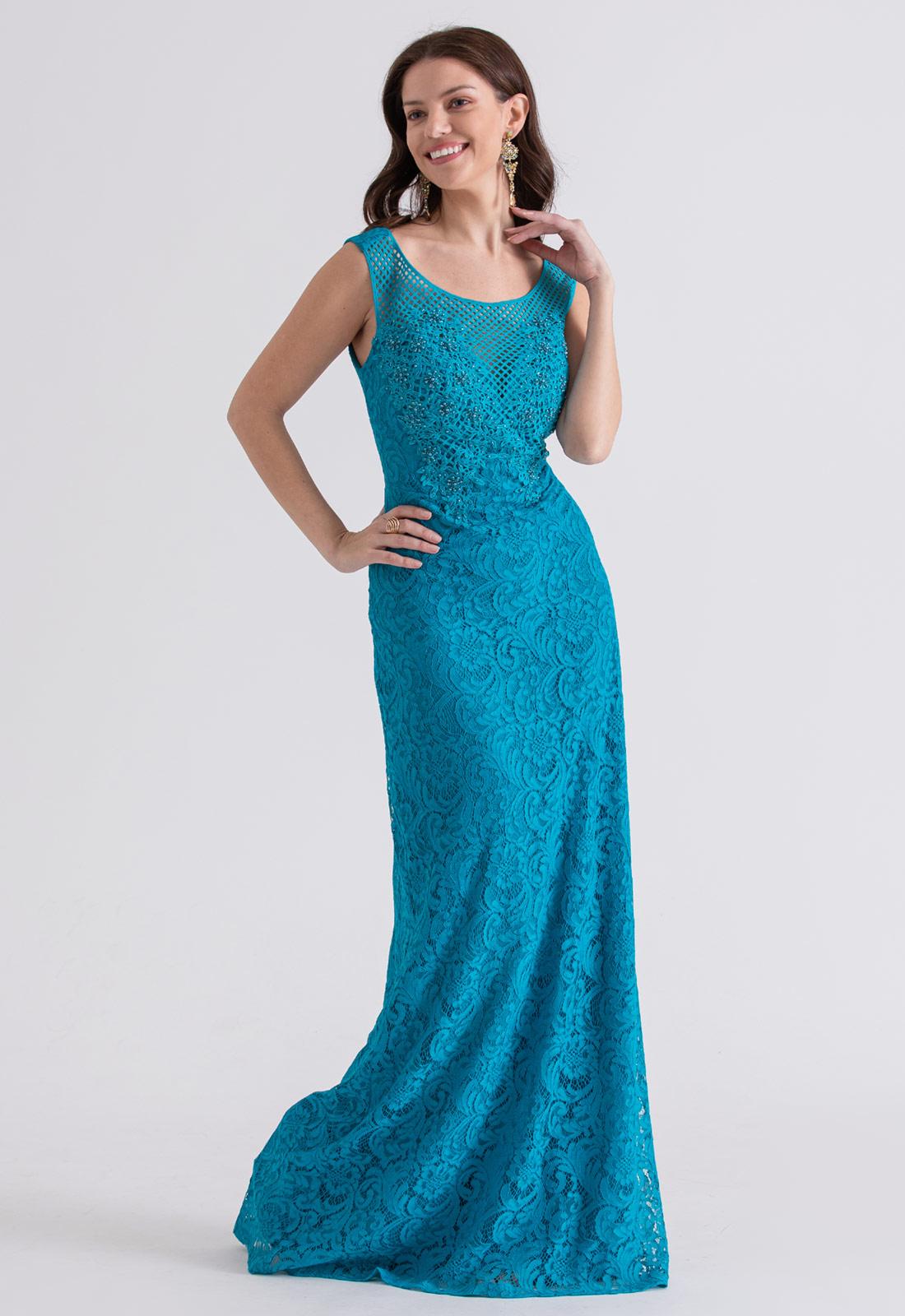 Vestido de festa em Renda azul turquesa - Ref. 2212