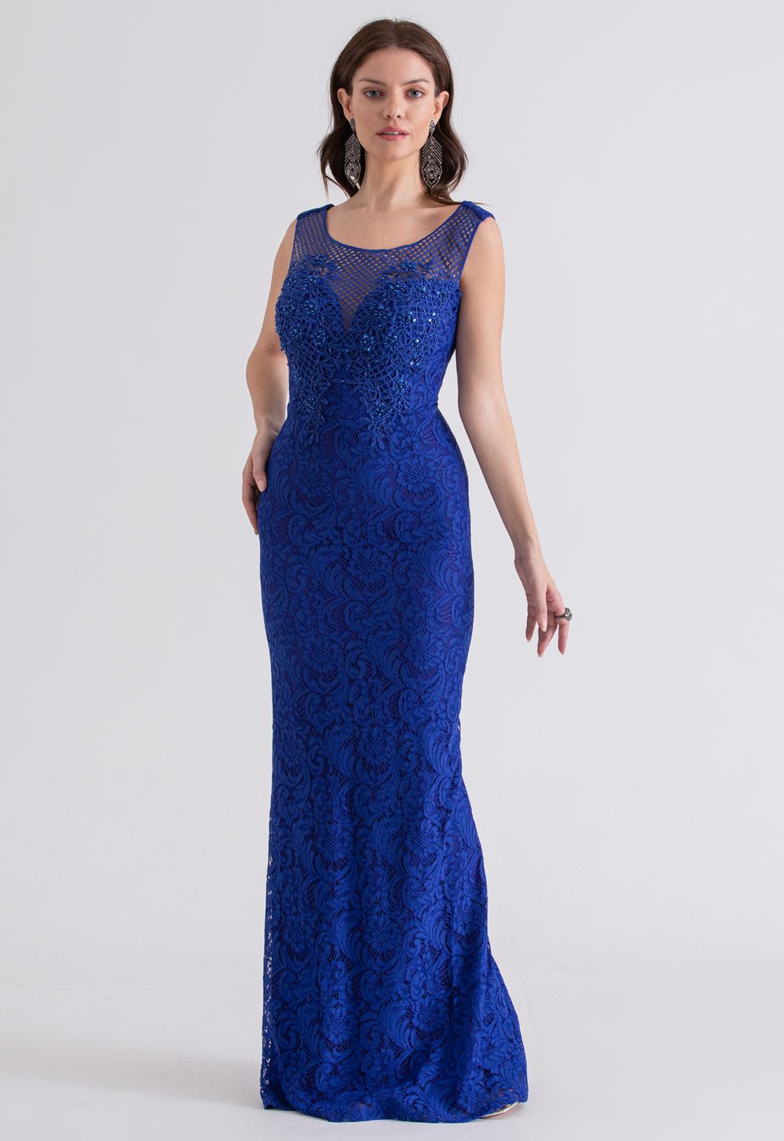 Vestido de festa em Renda Bordado Azul royal - Ref. 2212