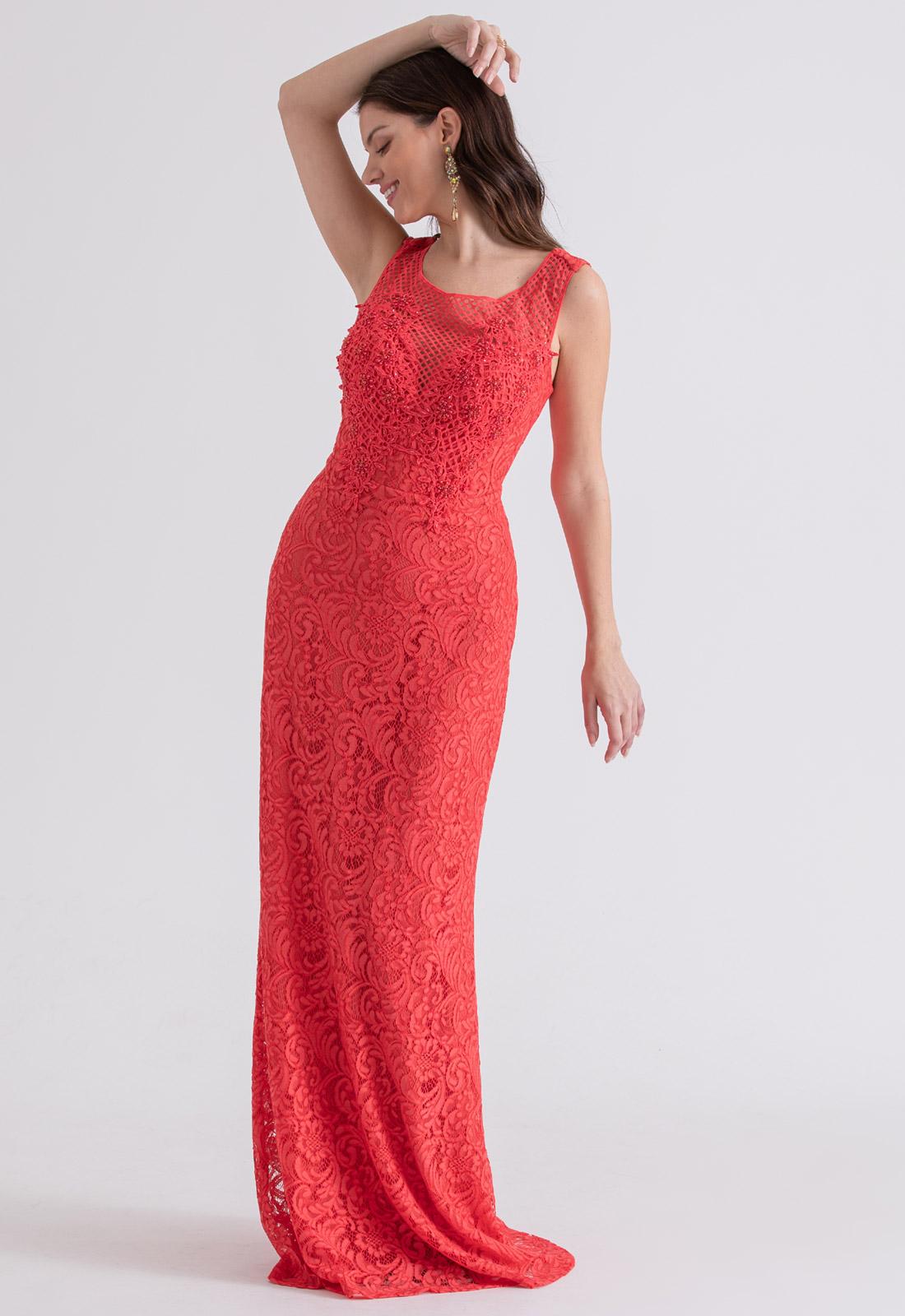 Vestido de festa em Renda Bordado Coral - Ref. 2212