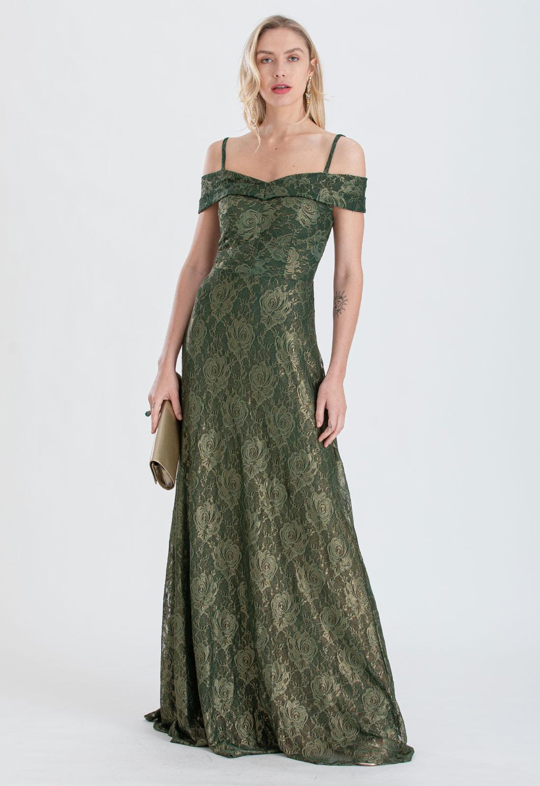 Vestido de festa em renda dourado verde Ref. 2422
