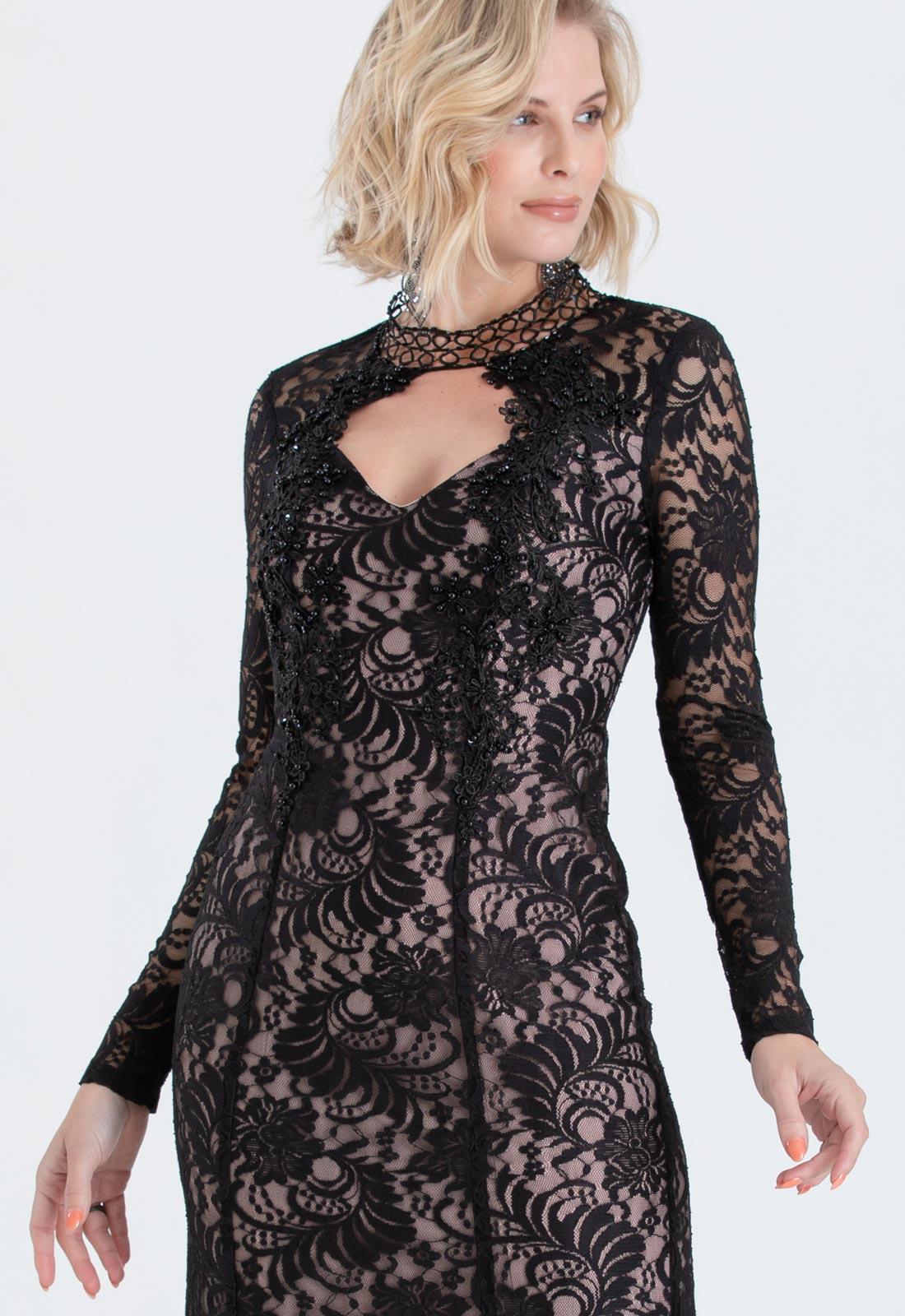 Vestido de festa em renda Preto com Nude Ref. 2424