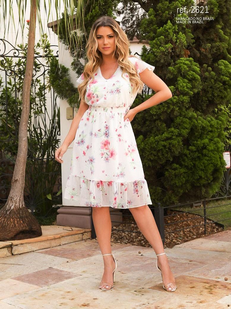Vestido de festa branco estampado  ref. 2621