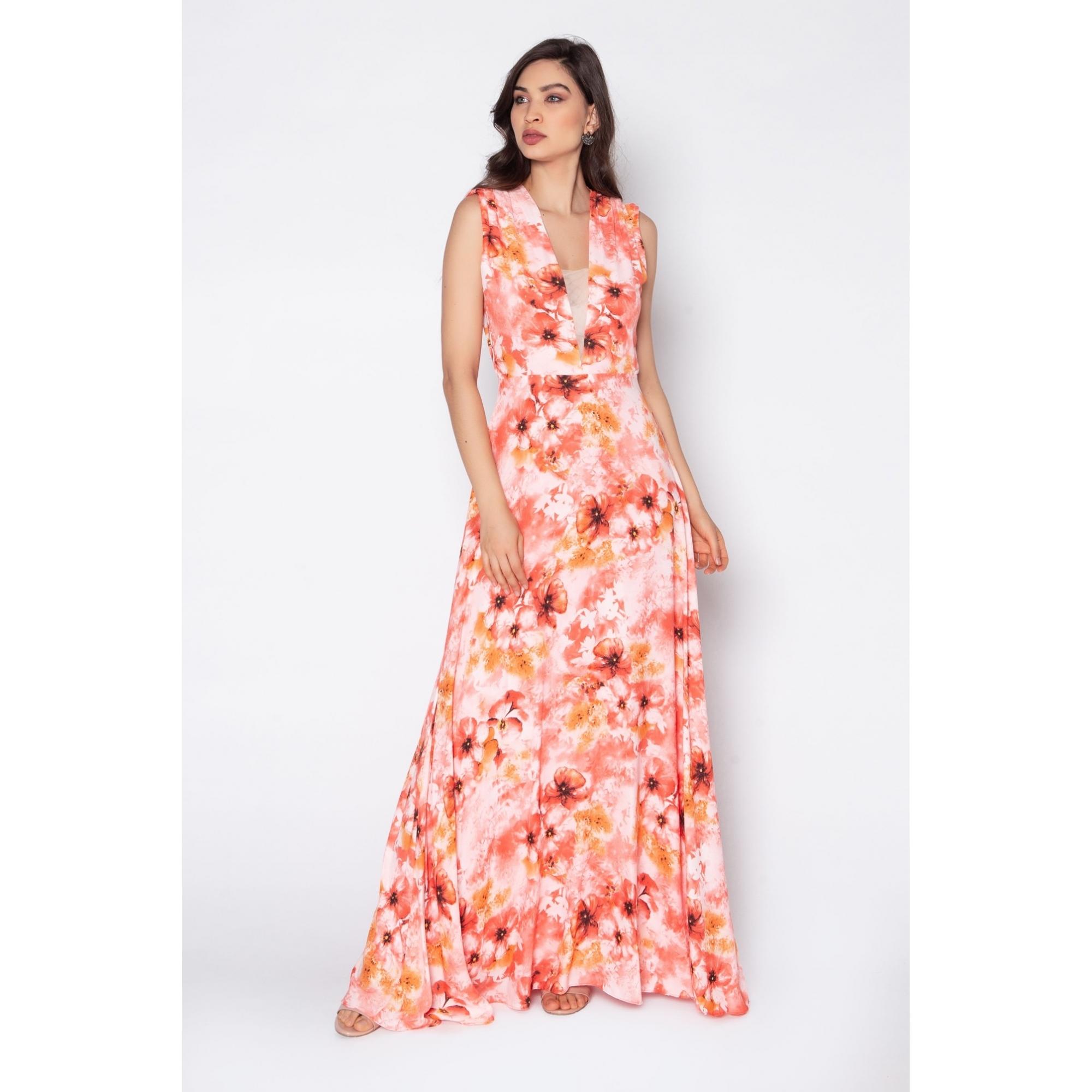 Vestido de festa estampado coral ref.P616