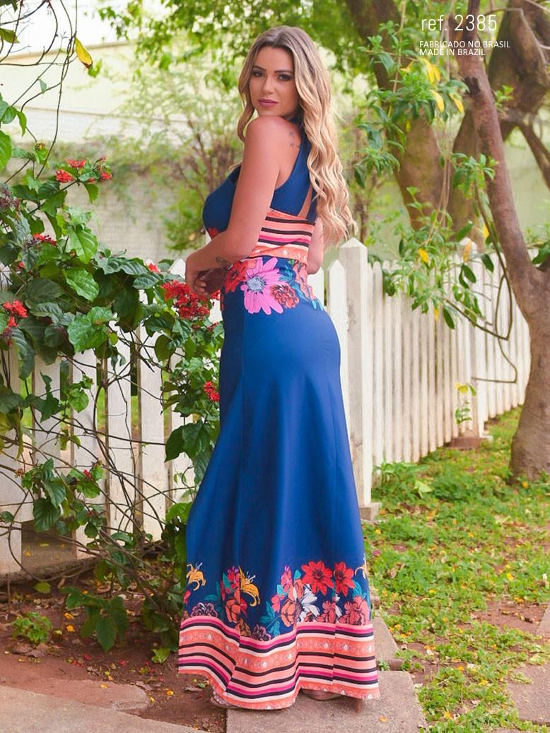 vestido de festa estampado longo
