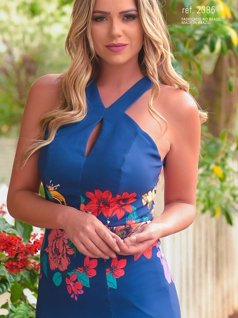 vestido longo de crepe estampado azul