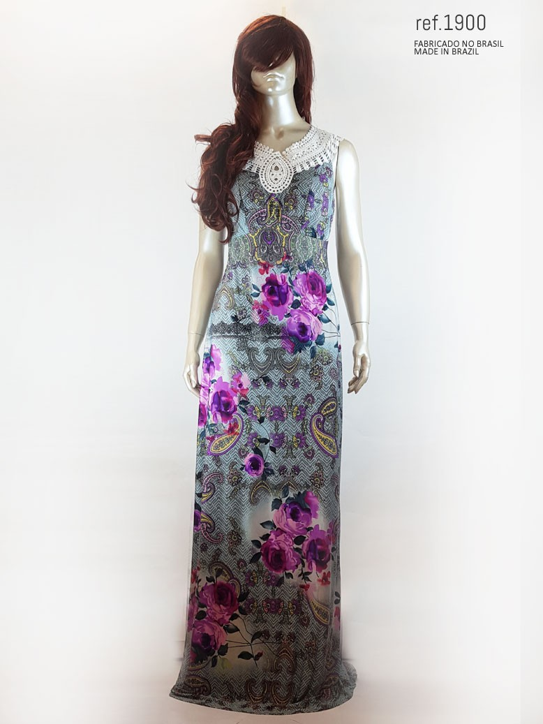 Vestido longos estampado  ref. 1900