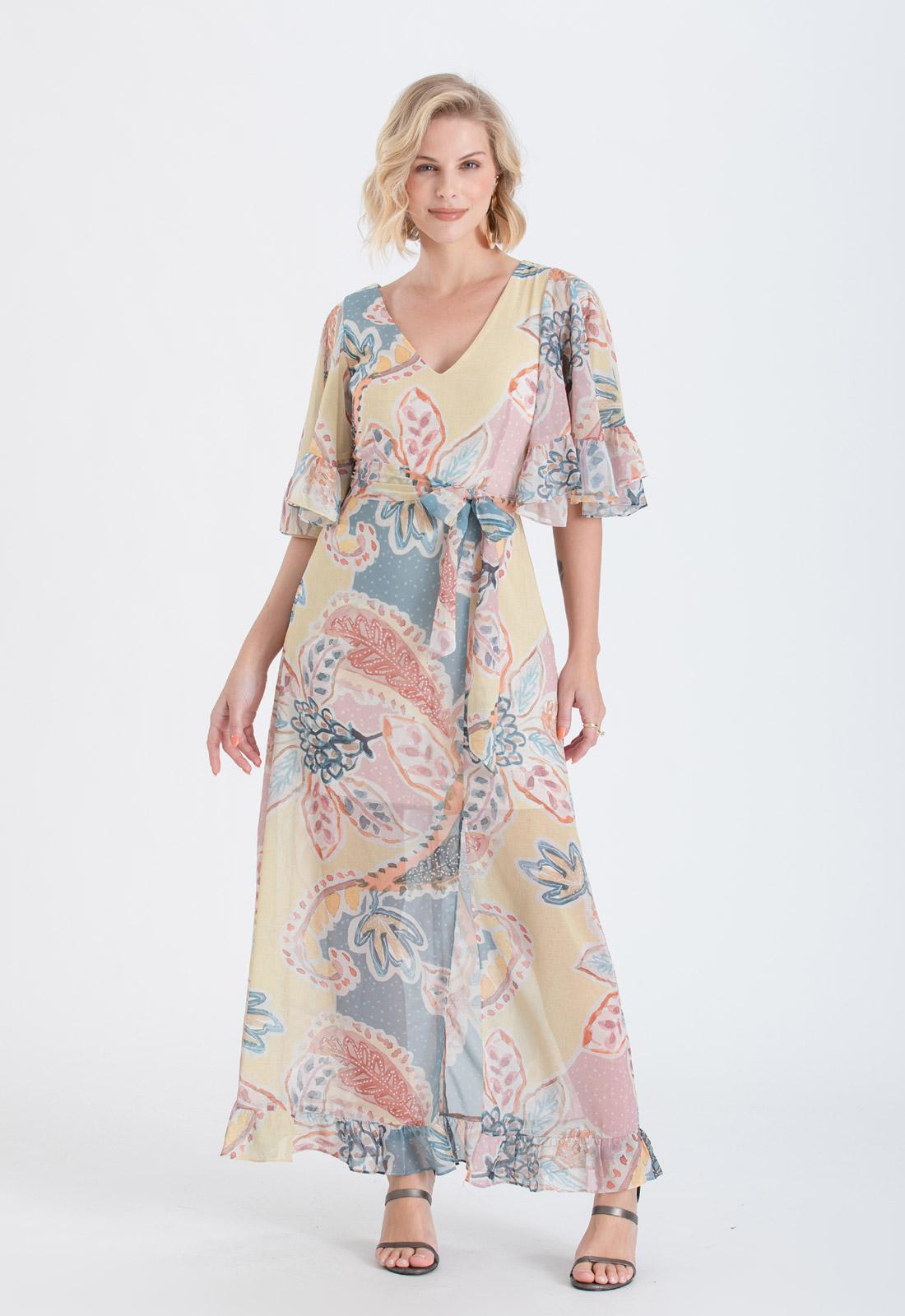 Vestido de festa estampado Rosa Ref. 2606