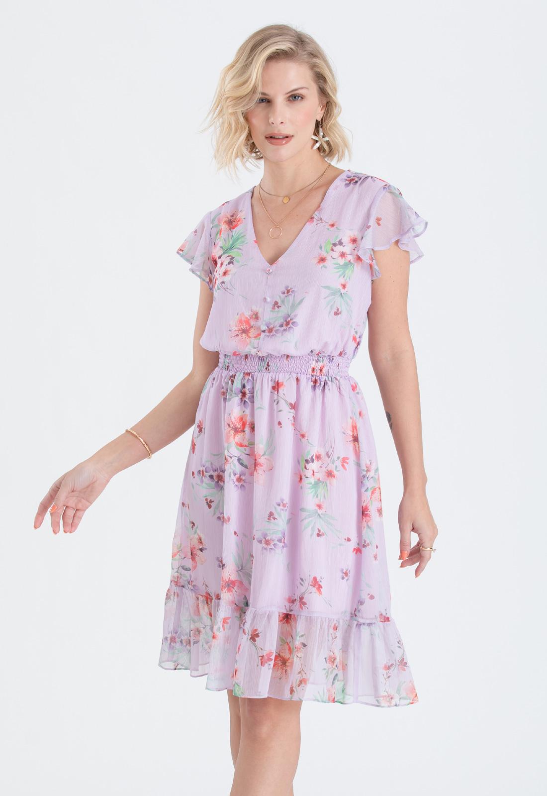 Vestido de festa lilás estampado  ref. 2621