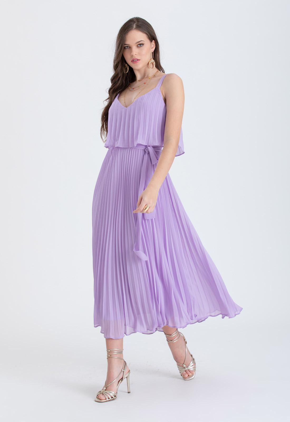 Vestido de festa lilás Plissados - Ref. 2466