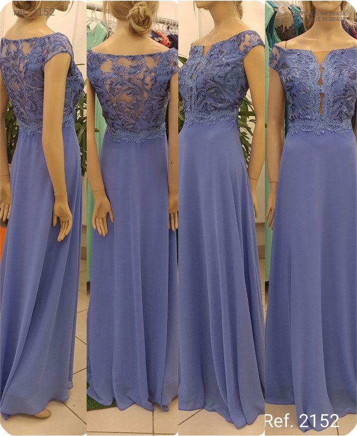 Vestido de festa longo Azul Niagara paete ref. 2152
