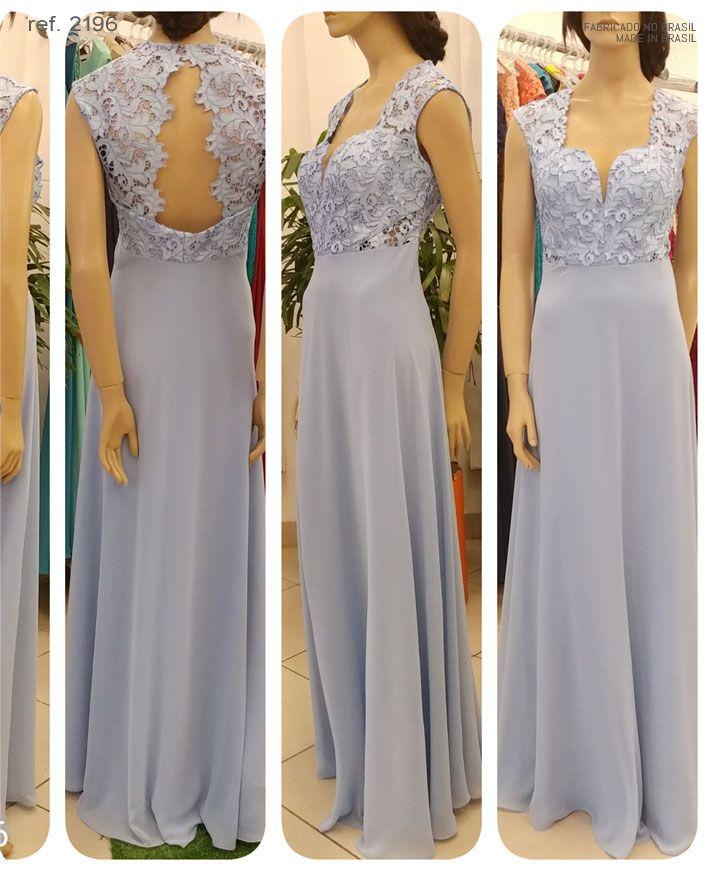Vestido de festa longo azul serenity renda guippir ref. 2196
