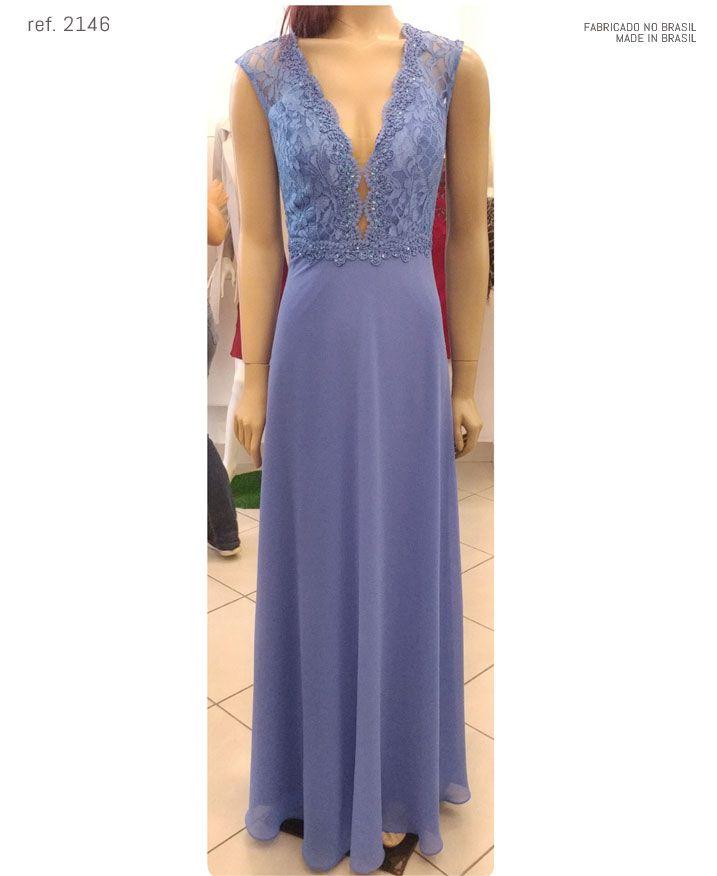 Vestido de festa longo busto de renda com guippir - Ref. 2146
