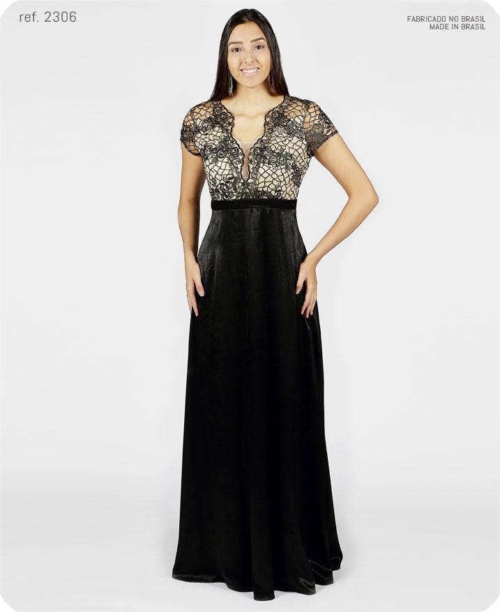 Vestido de festa longo busto de tule bordado preto ref. 2306 seuvestido