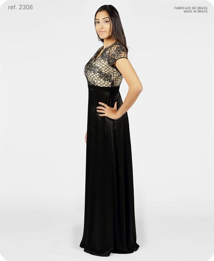 vestido longo bordado preto