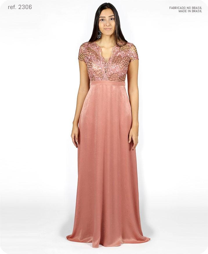Vestido de festa longo rosê rosa antigo ref. 2306