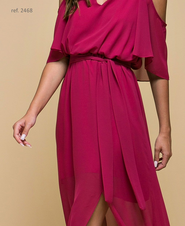 Vestido de festa longo com alça e faixa Magenta - Ref. 2468