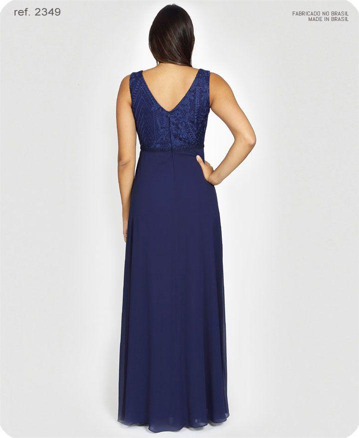 Vestido de festa longo azul marinho ref. 2349