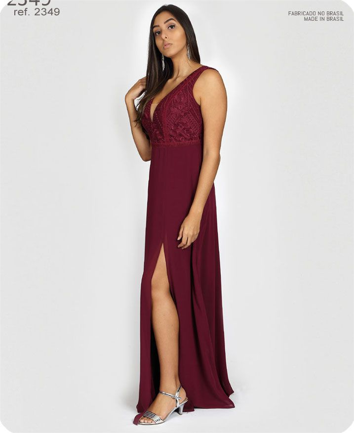 Vestido de festa longo Marsala ref. 2349