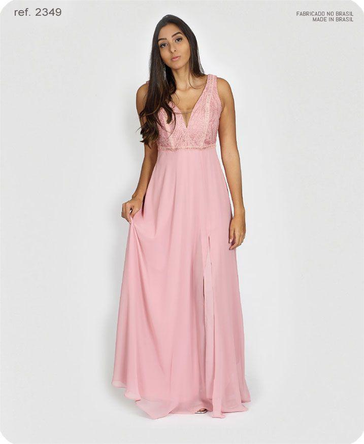 Vestido de festa longo Rosê ref. 2349