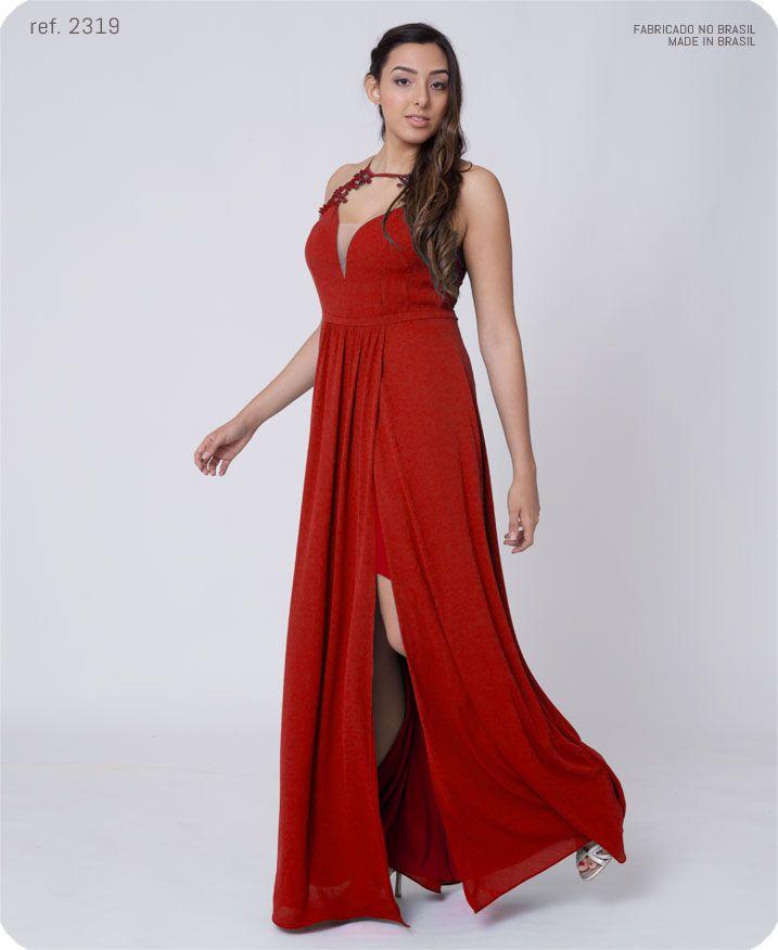 Vestido de festa longo de cava americana de guippir - Ref. 2319 s