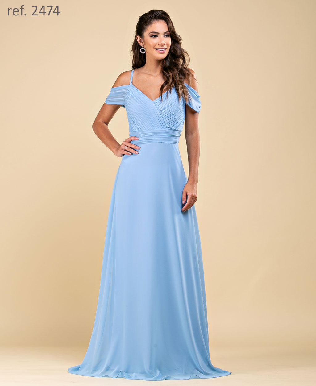 Vestido de festa longo de chiffon com corpo plissado e manguinha azul serenity ref. 2474