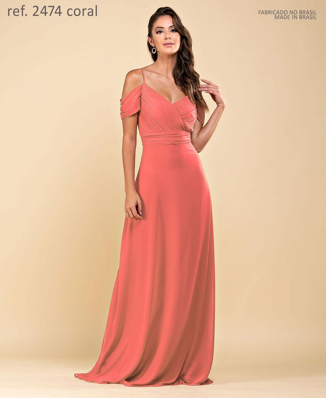 Vestido de festa longo de chiffon com corpo plissado e manguinha coral ref. 2474